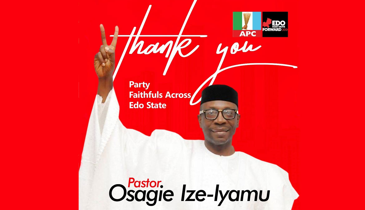 Thank You for Electing Me By Pastor Osagie Ize-Iyamu