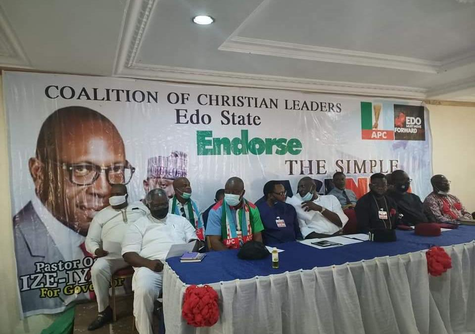 Edo 2020: Coalition of Christian Leaders endorses Ize-Iyamu, urges Christians across all denominations to vote massively for APC